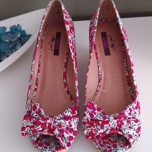 Lord & Taylor Liberty Fabric Wedge Heel Peep Toe